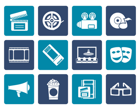 blu ray: Flat Movie theatre and cinema icons - vector icon set