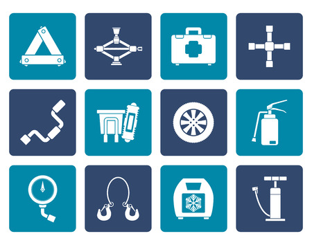 car fuse: Flat car and transportation equipment icons - vector icon set