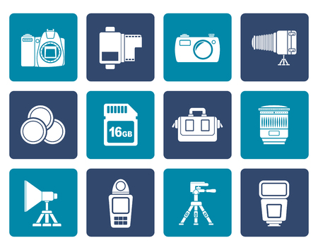 Flat Photography equipment and tools icons - vector icon set Illustration