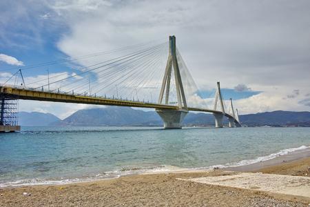 The cable bridge between Rio and Antirrio, Patra, Western Greece Stock Photo