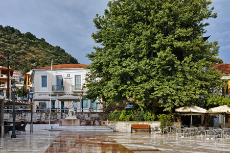 central square: Central Square of town of Nafpactos, Western Greece Stock Photo