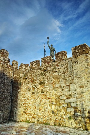ionian: The port of Nafpaktos town and monument over Castle wall, Western Greece