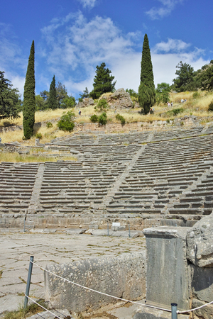 Amazing view of Amphitheater in Ancient Greek archaeological site of Delphi,Central Greece Stock Photo