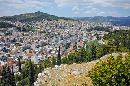 lamia: Amazing panorama of Lamia City, Central Greece Stock Photo