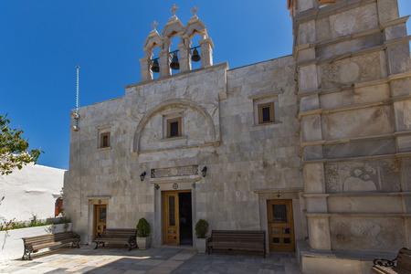 Frontal view of Panagia Tourliani monastery inTown of Ano Mera, island of Mykonos, Cyclades, Greece