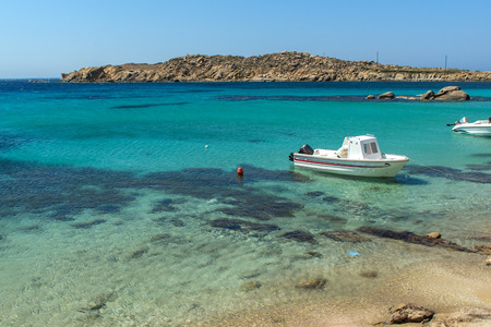 cyclades: Paranga Beach on the island of Mykonos, Cyclades, Greece Stock Photo