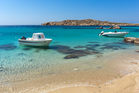 Paranga Beach on the island of Mykonos, Cyclades, Greece 스톡 콘텐츠