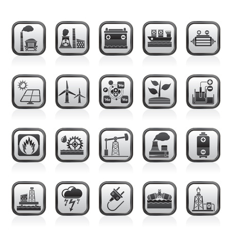 mine site: Electricity and Energy source icons - vector icon set Illustration
