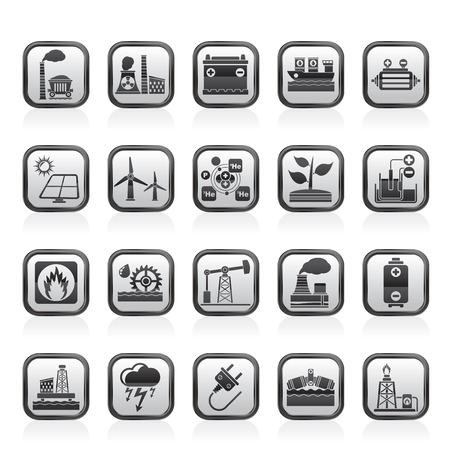 Electricity and Energy source icons - vector icon set Ilustração