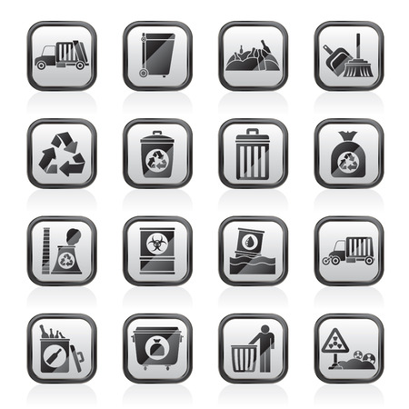 Garbage, cleaning and rubbish icons - vector icon set Illustration