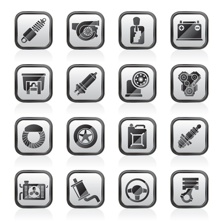 brake disc: Car part and services icons  - vector icon set