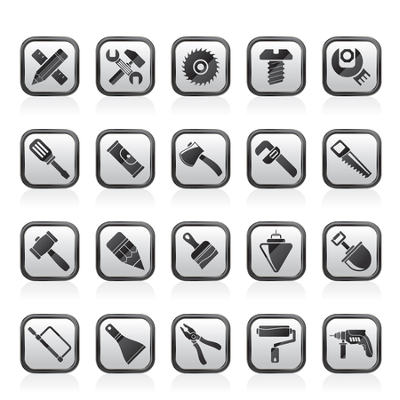 Construction tools object icons - vector icon set