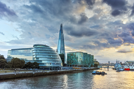 great britain: Amazing sunset over London City Hall, England, Great Britain Editorial