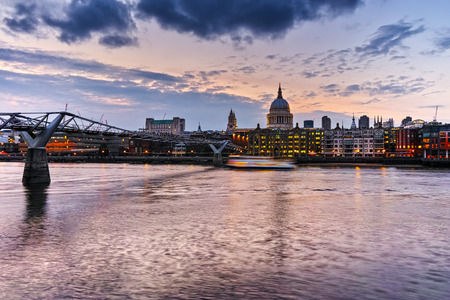 st pauls: Night photo of St Pauls Cathedral and Millennium Footbridge over the Thames, London, England, Great Britain