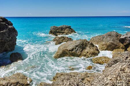 blue waters: Big Rock in the blue waters of Megali Petra Beach, Lefkada, Ionian Islands, Greece