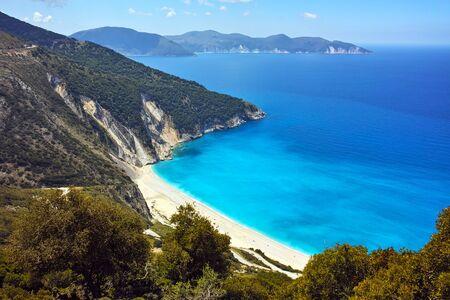 cefalonia: Panoramic view of Myrtos Beach, Kefalonia, Ionian Islands, Greece Stock Photo