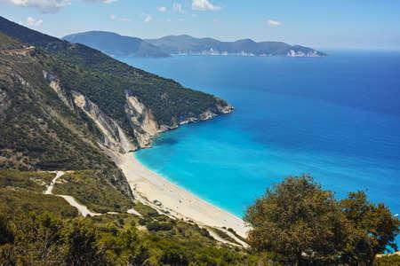 cefalonia: Amazing panorama of Myrtos Beach, Kefalonia, Ionian Islands, Greece Stock Photo