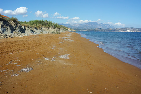 cefalonia: Panoramic view of Red sands of xsi beach, Kefalonia, Ionian Islands, Greece Stock Photo