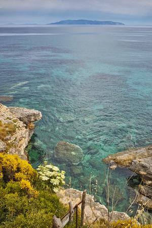 cefallonia: Rocks in the water of Pesada beach, Kefalonia, Ionian islands, Greece