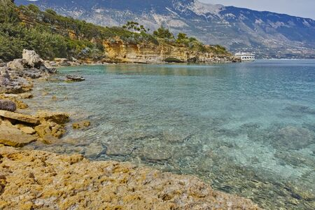 cefallonia: Amazing panorama of Pesada beach, Kefalonia, Ionian islands, Greece Stock Photo
