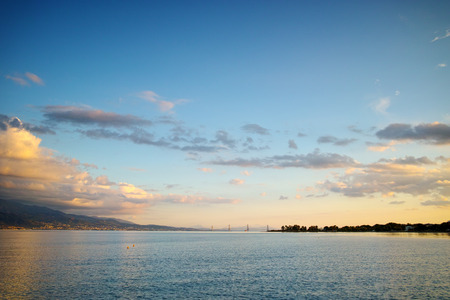 Sunset over The cable bridge between Rio and Antirrio view from Nafpaktos, Patra, Western Greece