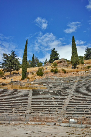 corinthian column: Amphitheater in Ancient Greek archaeological site of Delphi,Central Greece