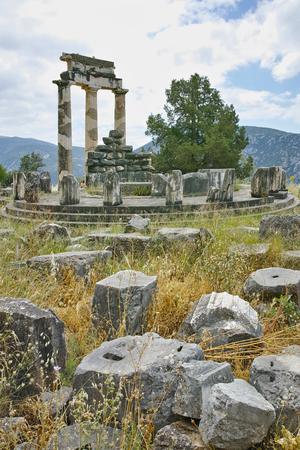 corinthian column: Athena Pronaia Sanctuary in Ancient Greek archaeological site of Delphi,Central Greece