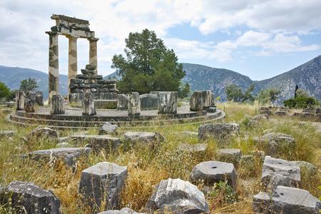 delphi: Athena Pronaia Sanctuary in Ancient Greek archaeological site of Delphi,Central Greece