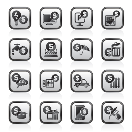 gas radiator: payment of  bills icons - vector icon set Illustration