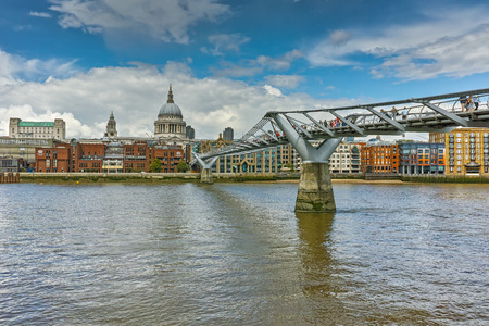st pauls: St Pauls Cathedral and Millennium Footbridge over the Thames, London, England, Great Britain Stock Photo