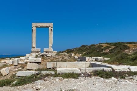 Close up view of Portara, Apollo Temple Entrance, Naxos Island, Cyclades, Greece