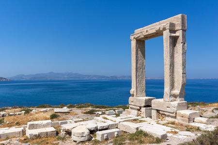 Amazing View of Agean sea and Portara, Apollo Temple Entrance, Naxos Island, Cyclades, Greece