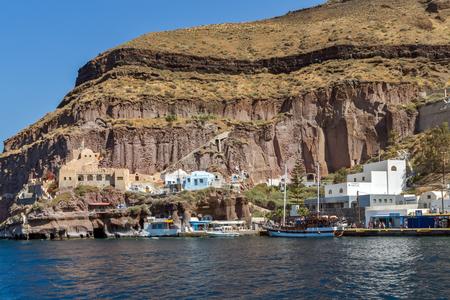 thira: Port of Fira,  Santorini island, Thira, Cyclades, Greece