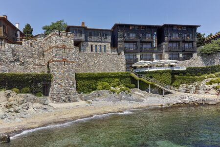 archeologist: ancient fortifications and old town at embankment of Sozopol, Burgas Region, Bulgaria