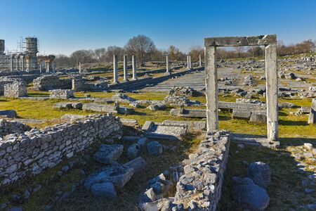 Ruins of entrance in the archeological area of ancient Philippi, Eastern Macedonia and Thrace, Greece