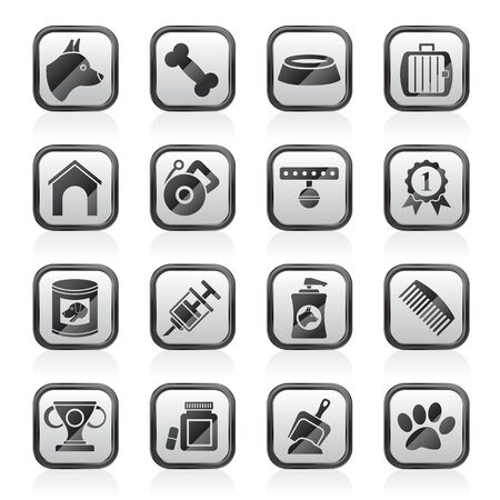 icons set: Dog and Cynology object icons - vector icon set Illustration