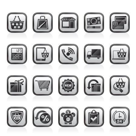 ecommerce icons: on line shop and E-commerce icons - vector icon set