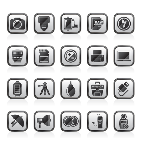 computer equipment: Camera equipment and photography icons - Vector Icon Set