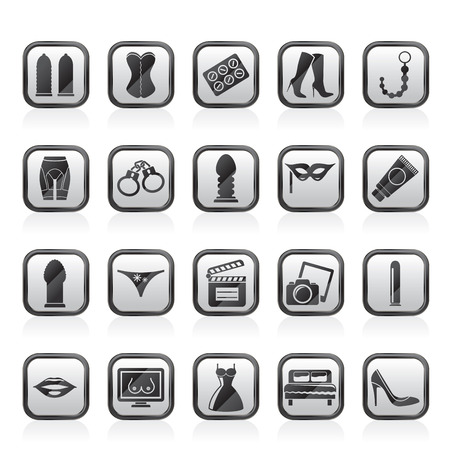 erotic sex: Sex, Erotic and temptation icons  - vector icon set