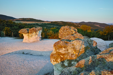Panoramic view of  a rock formation The Stone Mushrooms near Beli plast village, Kardzhali Region, Bulgaria