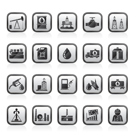 oil and gas industry: Oil industry, Gas production, transportation and storage icons - vector icon set Illustration