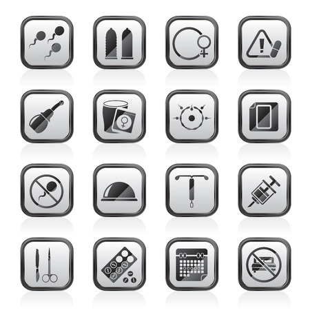 contraception: Pregnancy and contraception Icons - vector icon set