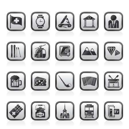 swiss alps: Switzerland industry and culture icons  - vector icon set