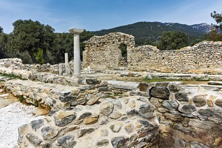 thassos: Panorama to Ruins of ancient church in Archaeological site of Aliki, Thassos island,  East Macedonia and Thrace, Greece