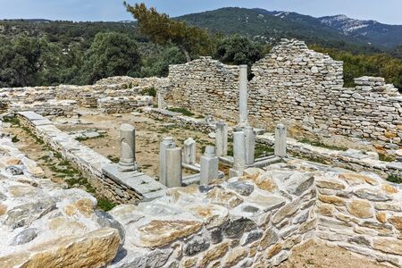 Columns in Ruins of ancient church in Archaeological site of Aliki, Thassos island,  East Macedonia and Thrace, Greece