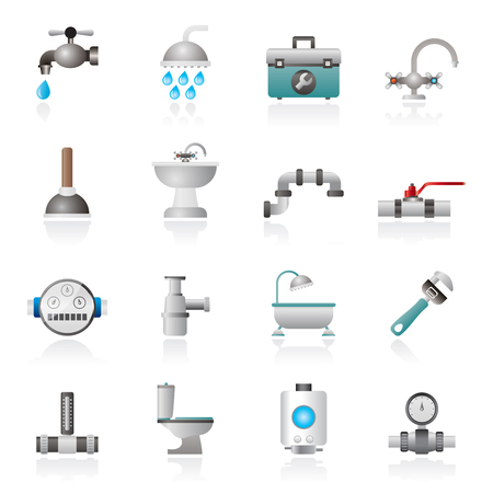 water heater: plumbing objects and tools equipment icons - vector icon set Illustration