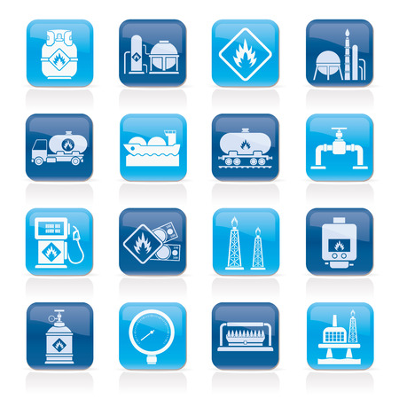 natural gas prices: Natural gas fuel and energy industry icons  - vector icon set Illustration