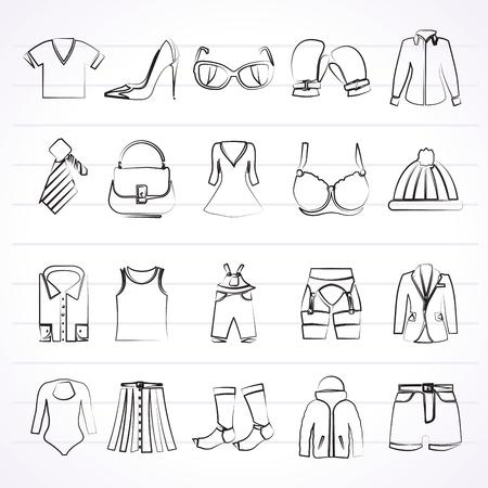 Mode und Kleidung und Zubehör-Symbole - Vektor-Icon-Set