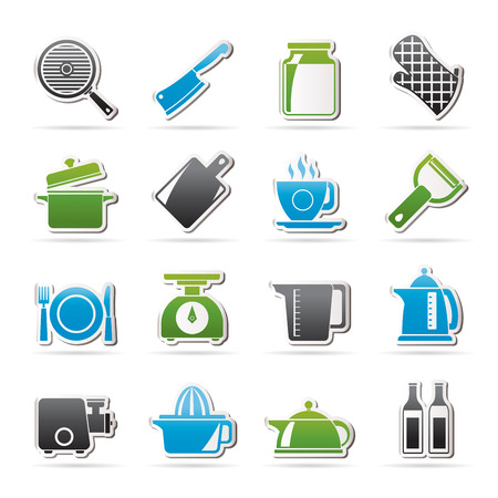 registration mark: home kitchen equipment icons - vector icon set