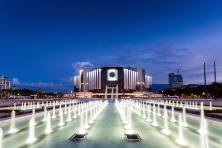 SOFIA, BULGARIA - JULY 3, 2016: Amazing Night photo of National Palace of Culture and fountain in Sofia, Bulgaria